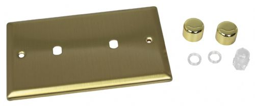 Varilight WYD2.BB Urban Brushed Brass 2 Gang Dimmer Plate Only + Dimmer Knobs (Twin Plate)